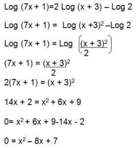 ecuacion logarítmica