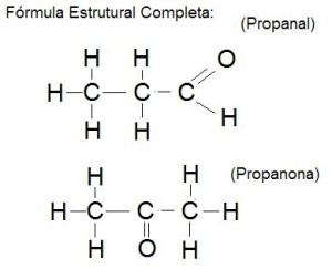 Propanal y propanona